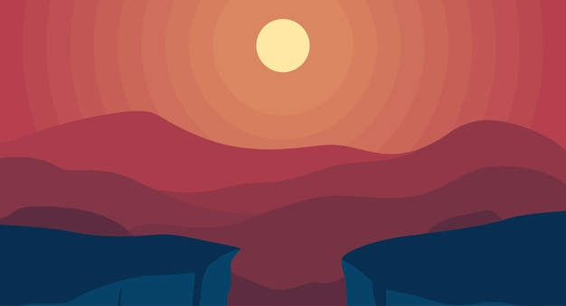 Collina paesaggistica rossa con sfondo sfumato del sole
