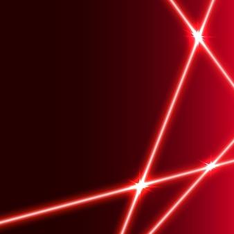 Raggio laser rosso con razzi di luce.