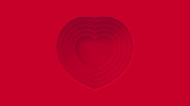 Strati rossi cuori astratti centro spazio sfondo materiale design