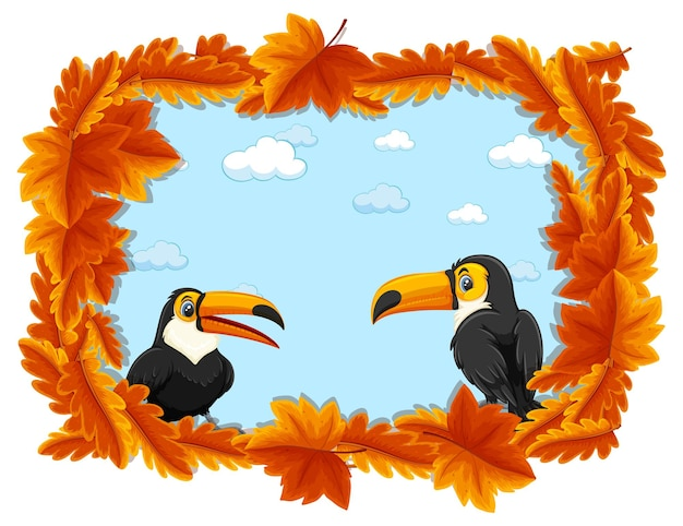 Modello di banner di foglie rosse con personaggio dei cartoni animati di tucano
