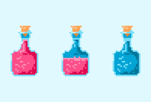 Pixel bottiglia magica pozione di vita rossa