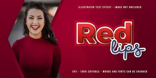 Modello di banner labbra rosse con effetto di testo modificabile