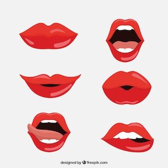 Collezione labbra rosse con design piatto