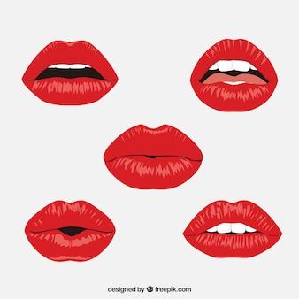 Collezione labbra rosse con design piatto Vettore Premium