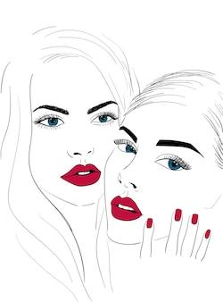 Labbra rosse si affacciano con le unghie