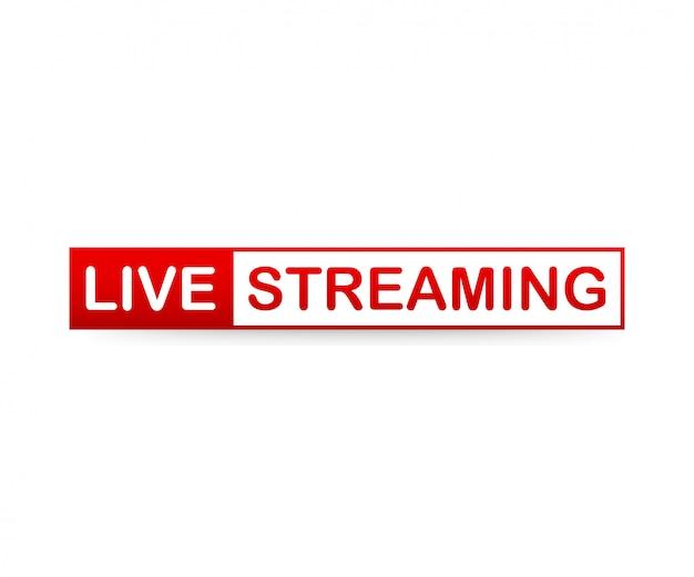 Red live streaming icon su sfondo bianco.