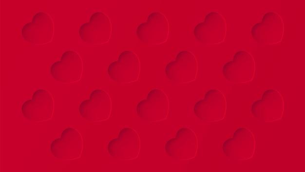 Fondo rosso di struttura del modello ripetuto con fossette di amore del cuore