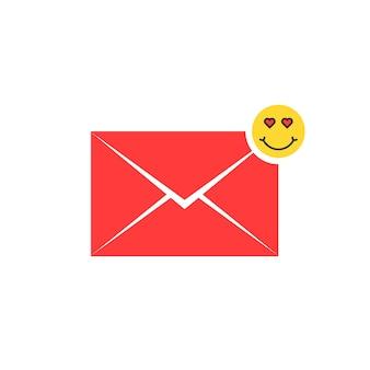 Icona rossa della lettera d'amore con emoji. concetto di billet-doux, sms, amorousness, allegro, relazione, mailing, avatar comico, innamorato. design grafico del logo moderno di tendenza in stile piatto su sfondo bianco