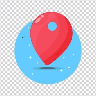 Icona rossa della puntina del puntatore della mappa su sfondo bianco