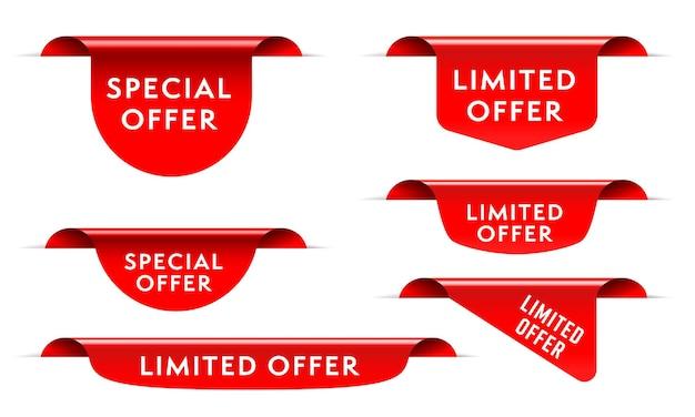 Etichetta di vendita del mercato rosso con set di modelli di offerta speciale limitata.