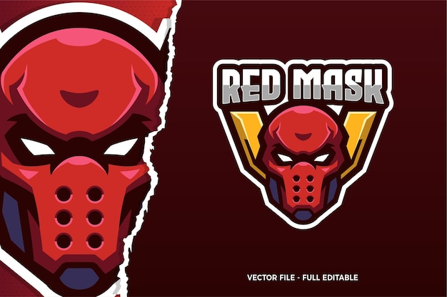 Red mask assassin e-sport game logo template