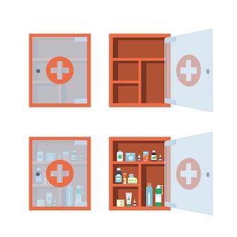 Armadietto medico rosso con anta trasparente in vetro aperta e chiusa. cassa di medicina