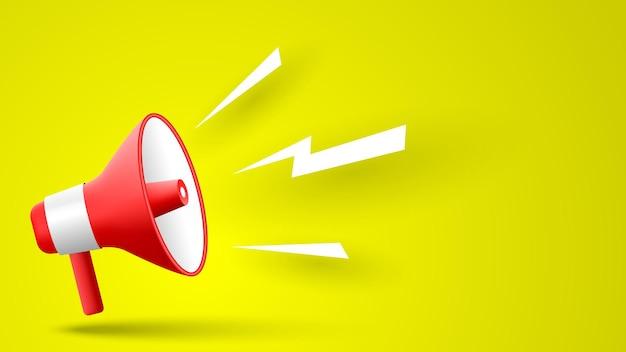 Megafono rosso su sfondo giallo illustrazione vettoriale Vettore Premium