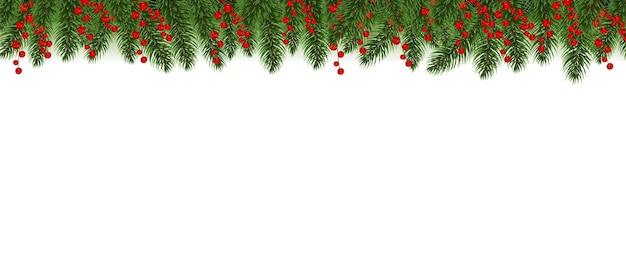 Bordo rosso di buon natale con l'illustrazione della bacca di agrifoglio