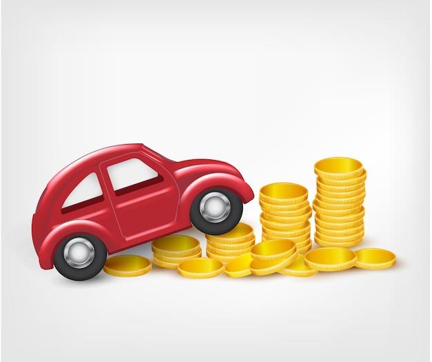 Auto modello rosso con monete d'oro. vettore