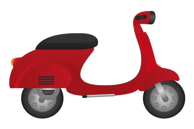 Motocicletta rossa isolata sopra il vettore bianco del fondo