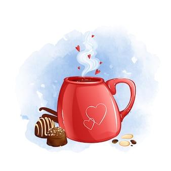 Tazza rossa con bevanda calda e cioccolatini. sfondo acquerello.