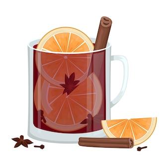 Vin brulè rosso in tazza con fettine d'arancia, cannella, chiodi di garofano e una vasca. bevanda alcolica invernale. illustrazione.