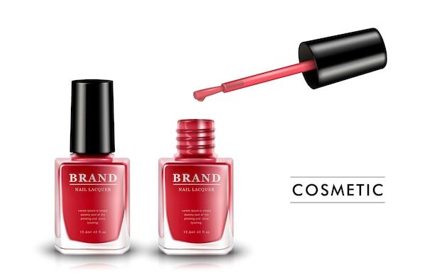 Modello di smalto rosso per unghie, prodotto di smalto per unghie di moda in bottiglia di vetro isolato su bianco, illustrazione 3d