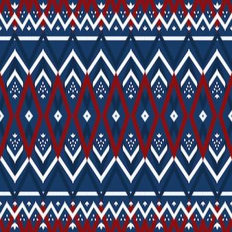 Rosso su blu navy modello tradizionale senza cuciture ikat orientale geometrico etnico asiatico. design per sfondo, moquette, sfondo per carta da parati, abbigliamento, confezionamento, batik, tessuto. stile di ricamo. vettore