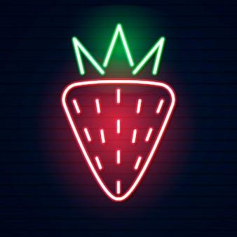 Fragola rossa al neon. illustrazione vettoriale di fragola rossa al neon composta da contorni, con retroilluminazione sullo sfondo scuro