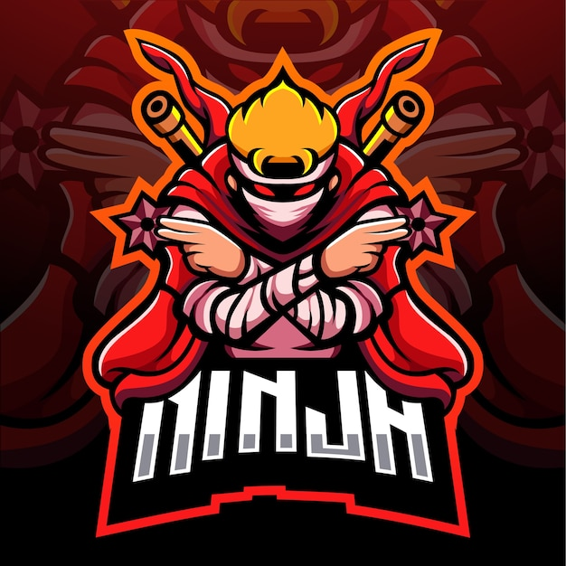 Red ninja mascotte esport logo design