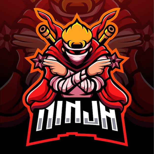 Red ninja mascotte esport logo design