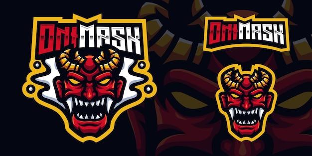 Red oni mask japan gaming mascot logo template per esports streamer facebook youtube