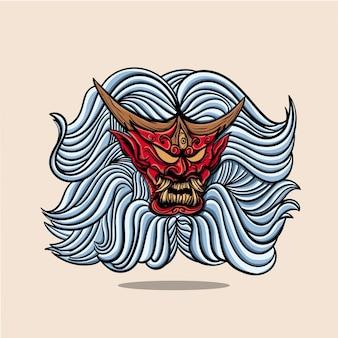 Maschera red oniyoaki japanese