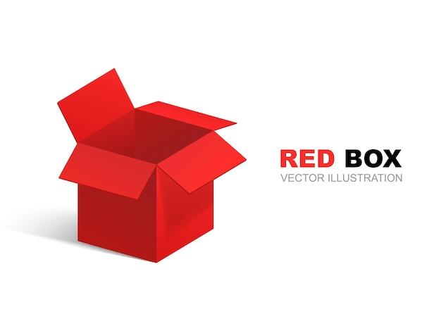 Scatola aperta rossa isolata su priorità bassa bianca. regalo rosso. illustrazione.