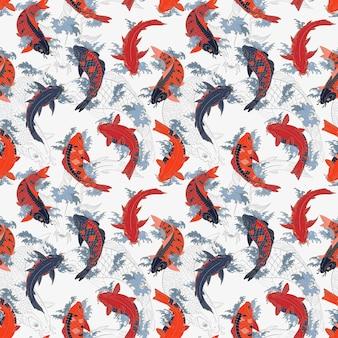 Modello senza cuciture leggero giapponese di carpe koi rosse e arancioni e grigie
