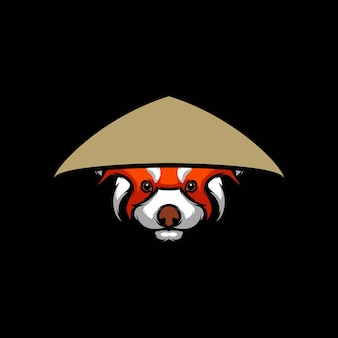 Red panda farmer illustration design