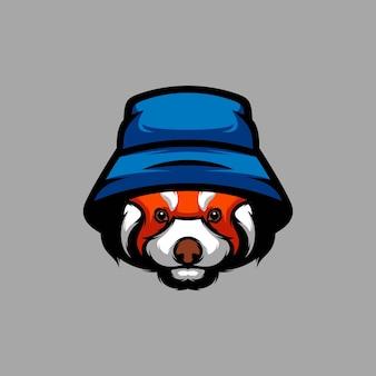 Disegno della mascotte del cappello del panda rosso