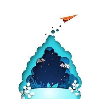 Volo rosso dell'aeroplano di carta sul blu con il fondo del modello della foglia e delle piante.