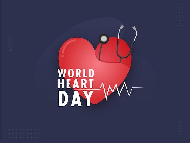 Carta rossa tagliata a cuore con lo stetoscopio su sfondo blu per la giornata mondiale del cuore.