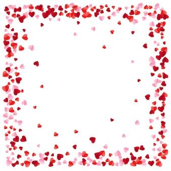 Sfondo di cuori di carta rossa cornice