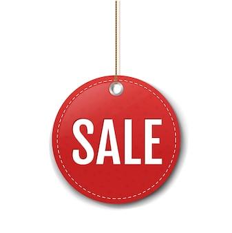 Etichetta di vendita di carta rossa con sfondo bianco corda con maglia di gradiente