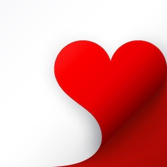 Carta rossa con angolo arricciato cuore e ombra, modello per il tuo. impostato.