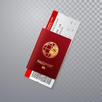 Passaporto rosso con carta d'imbarco isolato