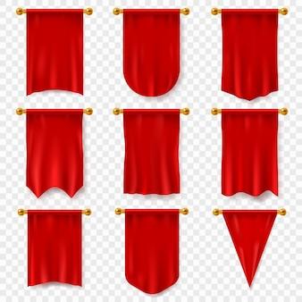 Gagliardetto rosso. bandiera tessile realistica, gagliardetto bianco araldico. premio pubblicità banner vuoto appeso modello di parete