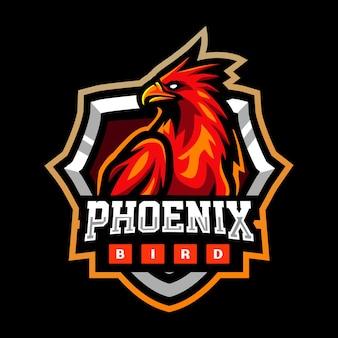 Disegno del logo esport della mascotte dell'uccello fenice rossa
