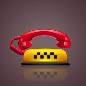Simbolo di taxi telefono rosso