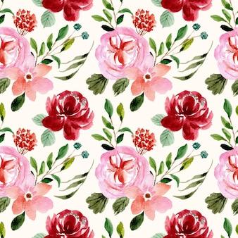 Modello senza cuciture dell'acquerello del giardino floreale rosa rosso