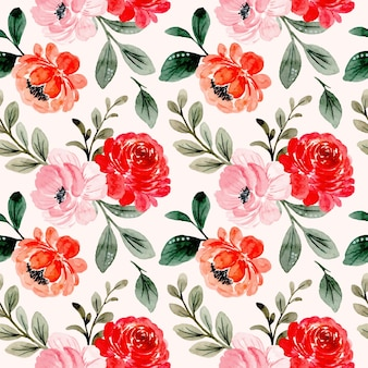 Modello senza cuciture dell'acquerello floreale rosa rosso