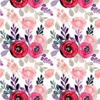 Modello senza cuciture dell'acquerello del fiore rosa rosso
