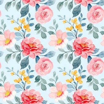 Reticolo senza giunte dell'acquerello del fiore rosso e rosa