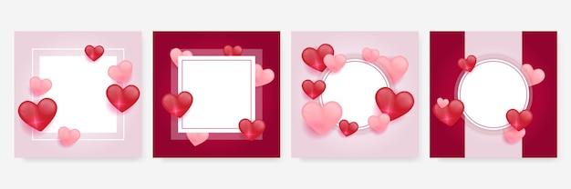 Insieme di modelli di amore di cuori rossi, rosa e bianchi. decorazioni in carta tagliata per banner di san valentino