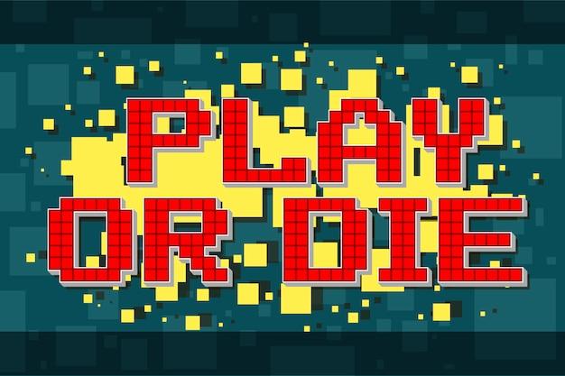 Pixel retrò retro play o pulsante die per videogiochi