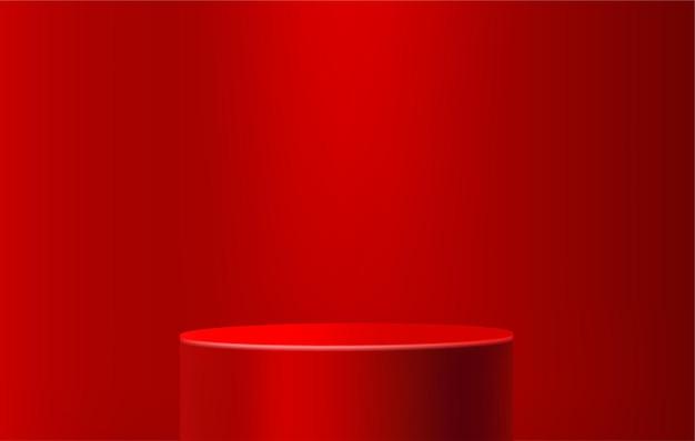 Podio rosso per la visualizzazione del prodotto sul modello di piedistallo del palco rosso 3d scena minima