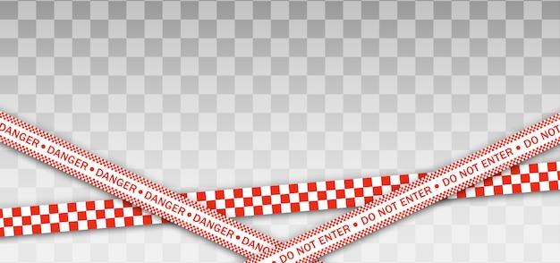 Linea di polizia rossa nastro di avvertimento, pericolo, nastro di avvertenza. zona in quarantena